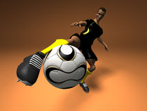 Football player. Black soccer player, 3d generated picture Stock Image
