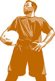Football Player. Portrait of the male football or soccer player vector illustration
