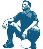 Football Player. Portrait of the male football or soccer player stock illustration