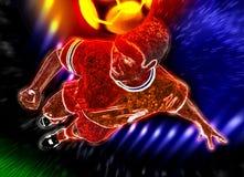Football player. The football player kicks the ball a head Royalty Free Stock Image