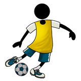 Football player action icon. A cartoon football player icon controlling the ball Stock Image