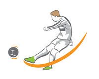 Football Player In Action Logo - Golden Chance Goal Kick. Football Player In Action Logo Having Gold Opportunity To Kick Stock Image