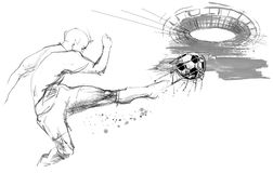 Soccer silhouette hand drawn sketch illustration. Football player in action on white background. Soccer silhouette hand drawn sketch illustration Royalty Free Stock Photo
