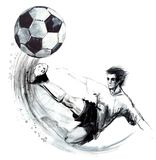 Soccer silhouette hand drawn sketch illustration. Football player in action on white background. Soccer silhouette hand drawn sketch illustration Stock Images