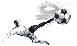 Soccer silhouette hand drawn sketch illustration. Football player in action on white background. Soccer silhouette hand drawn sketch illustration Royalty Free Stock Images