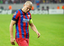 Football player alexandru Bourceanu angry reaction during Champions League game Stock Image