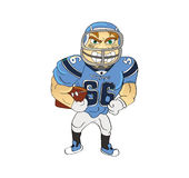 Football player American. Cartoon illustration of a football player American Royalty Free Stock Photos