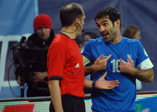 Football player argues with referee during FIFA World Cup Playoff Game Royalty Free Stock Photos