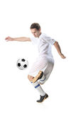 Football player with ball. Isolated against white background royalty free stock images