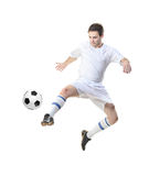 Football player with ball. Isolated against white background stock photo