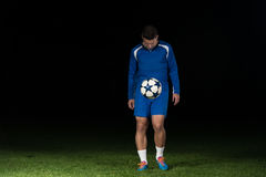 Football Player With Ball On Field Of Stadium Stock Photography
