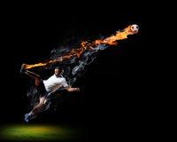 Football player with ball Stock Image