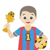 Football player with a ball and a reward. A cheerful cartoon character for the profession and sports theme stock illustration