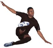 Football player in black kicking Royalty Free Stock Image