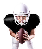 Football Player on black uniform isolated on white background Royalty Free Stock Image