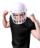 Football Player on black uniform isolated on white background Stock Photography
