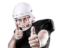 Football Player on black uniform isolated on white background Royalty Free Stock Photo