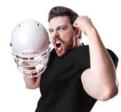 Football Player on black uniform isolated on white background Stock Images