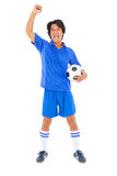Football player in blue celebrating a victory Royalty Free Stock Image
