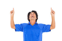 Football player in blue celebrating a victory Stock Photography