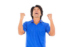 Football player in blue celebrating a victory Royalty Free Stock Photo
