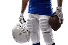 Football Player. With a blue uniform on a white background Stock Photos
