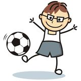Football player, boy and soccer ball. Football player, boy and soccer ball, vector icon, funny illustration. Colored illustration Stock Photo
