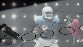 Football player catching the ball and being tackled with the coach strategic paper and whistle on th. Digital animation of African American football player royalty free illustration