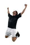 Football player celebrating his victory Stock Image