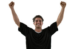 Football player celebrating his victory Stock Photos