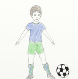 Football player - child like drawing Royalty Free Stock Photos