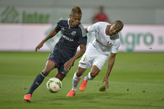Football player - Clinton Njie. Clinton Njie, player of Olympique Lyonnais pictured in action during the Europa League match between his team and Astra Giurgiu Stock Images