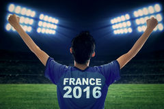 Football player of Euro 2016 in the stadium Royalty Free Stock Images