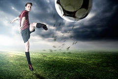 Football. Player at the final goal Stock Images