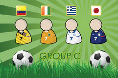 Football Player and Flags for championship 2014 on grass background and soccer ball Stock Photo