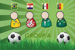 Football Player and Flags for championship 2014 on grass background and soccer ball Royalty Free Stock Photos