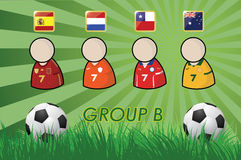 Football Player and Flags for championship 2014 on grass background and soccer ball Stock Images