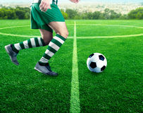 Football-player on the football ground Stock Images
