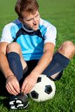 Football player getting ready Stock Photo