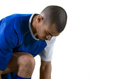 Football player getting ready for the game Royalty Free Stock Images