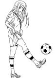 Football player girl with the ball. Illustration,logo,ink,black and white,outline,isolated on a white Stock Image