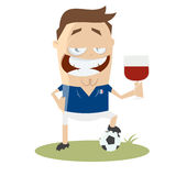 Football player with glass of wine Royalty Free Stock Photo