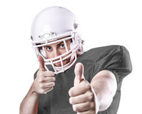 Football Player on gray uniform on white background Stock Photo