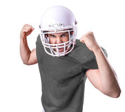 Football Player on gray uniform on white background Royalty Free Stock Photography