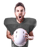 Football Player on gray uniform on white background Royalty Free Stock Photos