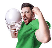 Football Player on green uniform isolated on white background Royalty Free Stock Photo