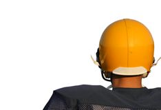 Football Player in Helmet Stock Photo