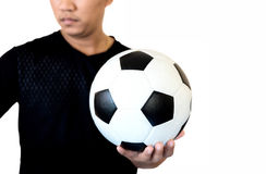 Football player holding ball on football stadium of championshi stock image