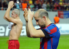 Football player Iasmin Latovlevici salutes fans Champions League game Royalty Free Stock Image