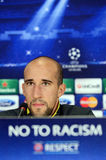 Football player Iasmin Latovlevici during UEFA Cheampions League press conference Royalty Free Stock Images